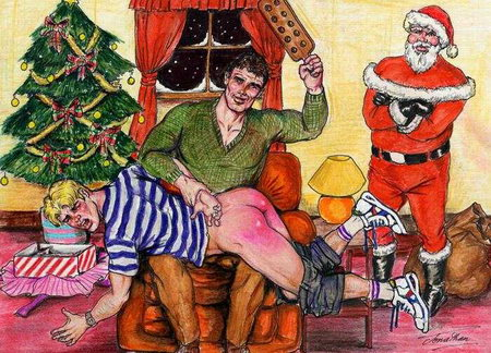 Christmas Gay Spanking and Paddling