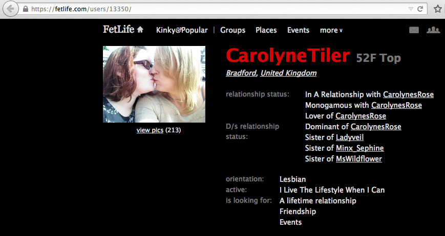 A screenshot of CarolyneTyler's Fetlife profile showing the ease  of correlating information provided, in this case an age, to other social media accounts.