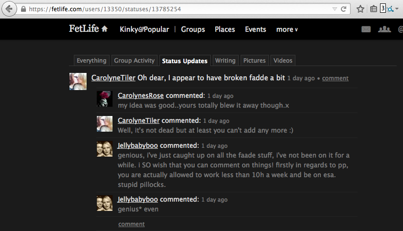 "A screenshot showing a FetLife user called CarolynesTiler boasting about being the person who ""broke"" the Predator Alert Tool for FetLife (formerly known as FAADE) consent violation reporting system."