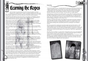 """Scanned image of \""""Learning the Ropes\"""" article text"""