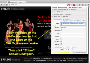 Screenshot of FetLife home page with Edit This Cookie extension for Chrome.
