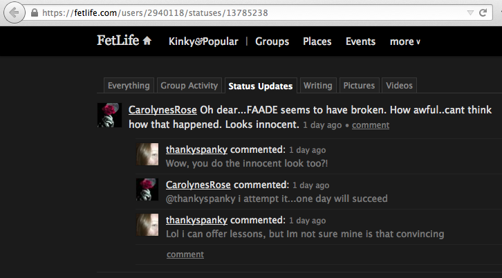 A screenshot showing that a FetLife user named CarolynesRose (user ID 2940118) posted a status update about PAT-FetLife (formerly known as FAADE) being broken.