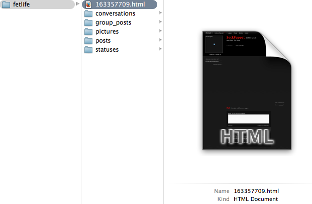 Screenshot showing the FetLife Export tool's folder structure for an archive.